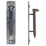 "Railroadware - Railroad Spike Door & Cabinet Pull Escutcheon Plate 9 1/2"" - The Railroad Spike Door & Cabinet Pull on steel escutcheon plate can handle the job for your kitchen, bath, bar or restaurant. 6 3/4"" long Railroad spike with a 1"" stand-off gap for easy grip mounted onto steel escutcheon plate. Orient them vertical for doors & cabinet handles. Horizontal of vertical uses makes these work for all kitchen pull & handle needs. Functional & heavy duty railroad hardware with a rustic lacquer finish. Custom sizes available."