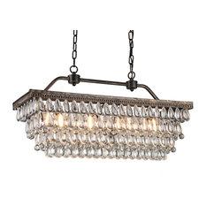 Amanda Antique-Style Copper 4-Light Rectangular Crystal Chandelier