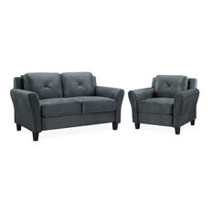 LifeStyle Solutions Harvard 2 Piece Loveseat And Accent Chair Set In Dark Gray