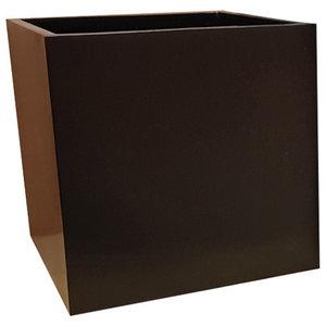 Matte Black Cube Fibreglass Planter, 60x60x60 cm