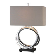 Entwined Silver Circles Table Lamp, Open Rings Elegant Beige Shade