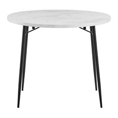 36-inch Drop Leaf Dining Table White Faux Marble