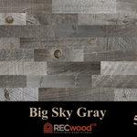 "RECwood Planks - Big Sky Gray 5"" Reclaimed Wood Panels, Gray, 10 Sq Ft - $9.99 per square foot"