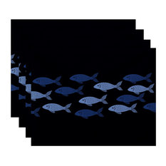 "18""x14"" Fish Line, Animal Print Placemat, Navy Blue, Set of 4"