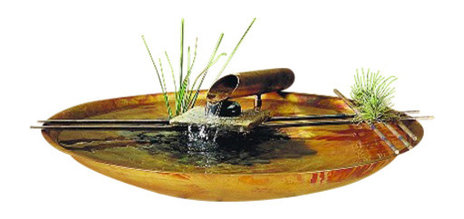 Large Round Copper Nature Bowl Water Fountain - Asian - Indoor ...