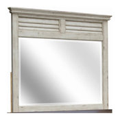 Shutter Mirror, Antique White and Natural Walnut Finish