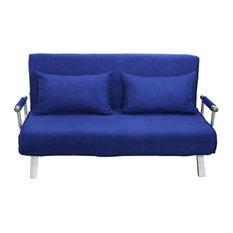 "Aosom - HomCom 61"" Folding Futon Sleeper Couch Sofa Bed, Blue - Sleeper Sofas"