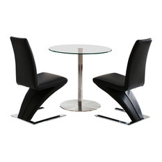 Target Tempered Glass, Chrome Dining Table, 2 Zed Leather Chairs, 80 cm, Black