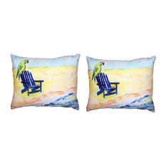Pair of Betsy Drake Parrot & Chair No Cord Pillows 16 Inch X 20 Inch