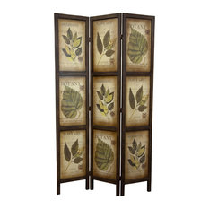 6' Double Sided Botanic Printed Wood Room Divider, 3 Panels