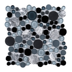 "10.5""x10.5"" Poppy Bubble Glass Mosaic Tile Sheet, Fusion Blue"