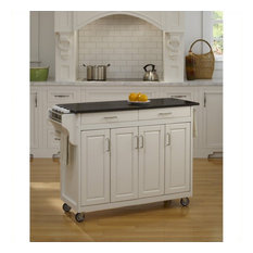 Homestyles Create-a-Cart 49 Inch Black Granite Top Kitchen Cart in White