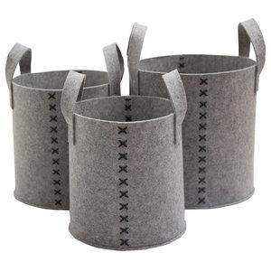Set of 3 Round Felt Storage Baskets