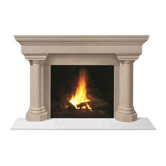 Fireplace Stone Mantel 1147.555 With Filler Panels, Buff, No Hearth Pad
