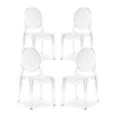Poly and Bark Criss Dining Side Chair in Clear, Set of 4