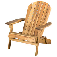 Milan Outdoor Rustic Acacia Wood Folding Adirondack Chair, Natural Stained