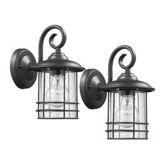 Transitional 1-Light Outdoor Wall Sconces, Set of 2, Black