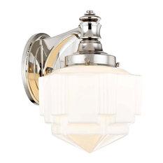art deco bathroom vanity lighting houzzart deco sconce polished nickel by recesso lighting