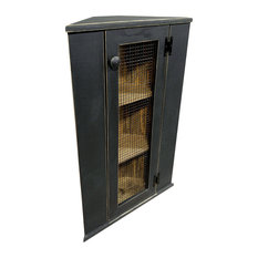 Sawdust City, LLC   Corner Cabinet Top Hutch, Old Black   China Cabinets And