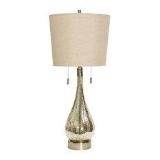 Fulda Table Lamp, Mercury Finish, Beige Hardback Fabric Shade