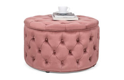 Velvet Round Storage Ottoman, Button-Tufted Footrest Stool Bench, Coral