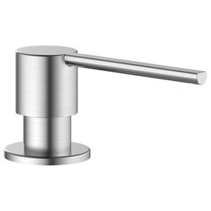 Soap Dispenser, Round, Brushed Stainless Steel