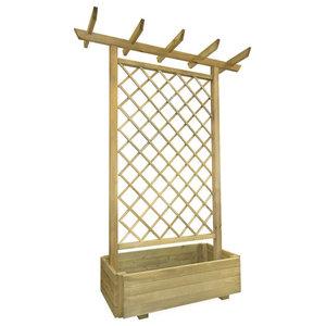 vidaXL Garden Pergola Planter, Wood, 162x56x204 cm