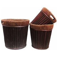 Willow Round Planter, Dark Brown, 3-Piece Set