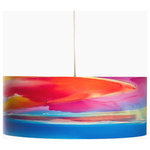 """Rowan Chase - Twilight Drum Pendant Light, 18""""x9"""", No Diffuser - Dream away in blue and red with the Twilight handmade drum pendants by Californian artist Rowan Chase. These unique lamps are constructed on white powder coated lampshade rings with Rowan Chase artwork. 100% Cotton Velvet Watercolor paper, a white 10 foot cord with porcelain fixture and white ceiling canopy. Lamps come assembled and ready for installation. They are handmade in California one shade at a time by Rowan Chase himself in his studio. Available in four sizes from 8"""" to an astonishing 24"""" centerpiece which completely changes your dining, bed or living room! All shades are 9"""" tall."""