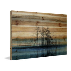 """""""Tree Isle Reflects"""" Painting Print on Natural Pine Wood, 45""""x30"""""""