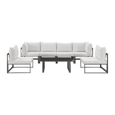 Modway Fortuna 7 Piece Outdoor Patio Sectional Sofa Set, Brown White