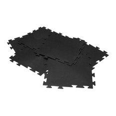 "Rubber-Cal ""Armor-Lock "" Interlocking Rubber Tiles, Black, 12 Pack"
