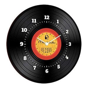 Disco Nero Round Wooden Wall Clock
