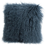 """Fibre by Auskin - Tibetan Lambskin 16"""" Cushion, Slate - Tibetan lambskin cushions are the epitome of luxury. Soft and textural, these cushions are an amazing accent to any room of your home. Backed with a cotton velvet fabric with a zipper and filled with a polyester insert."""