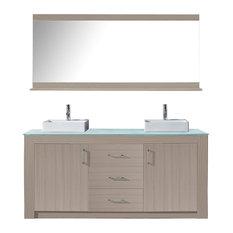 "Tavian 72"" Double Bathroom Vanity, Gray Oak With White Engineered Stone Top"