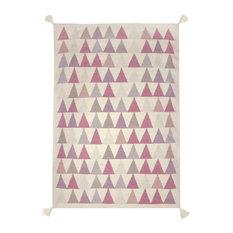 Triangles Kilim Children's Rug, Pink, 140x200 cm