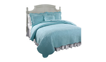 French Tile Canal Blue Twin Quilt