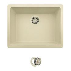 Dual-mount Single Bowl Quartz Kitchen Sink, Beige, Colored Flange