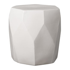 Emissary Facet Garden Stool, White