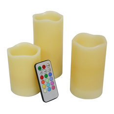 EcoGecko - Real Wax Multi-Color Flameless Candles With Remote Control Timer, Set of 3 - Home Fragrances