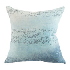 "Sequins Ocean Hand-Printed Linen Pillow, 24""x24"", Case With Insert"