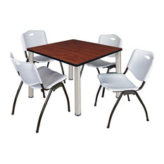 Kee 36-inch Square Breakroom Table Cherry Chrome And 4 'M' Stack Chairs Gray