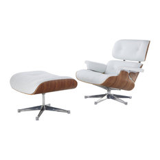 Mid-Century Modern Lounge Chair and Ottoman, White Aniline Leather, Walnut  - Recliner
