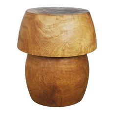Haussmann Inc Mushroom Shaped Mango Wood Table With Storage Livos Light Teak Oil