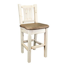 Montana Log Collection Wood Barstool With Back In Ready To Finish MWHCBSWNRBUCK