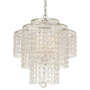 "Elight Design Crystal 18"" Wide Silver Chandelier"