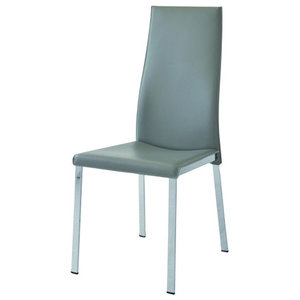 Noor Leather Chairs, Set of 2, Grey