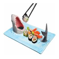 Shark Attack Hand-Painted Ceramic Sushi Serving Platter
