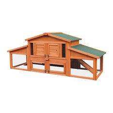 70 Inch Wooden Rabbit Hutch Outdoor Pet House Cage with 2 Run Play Area