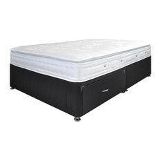 Aria Pillow Top Mattress and 2-Drawer Divan Bed Set, Black, Single